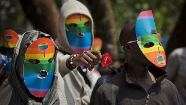 Outlawed: Kenyan gays and lesbians stage a rare protest against Uganda's stance against homosexuality.