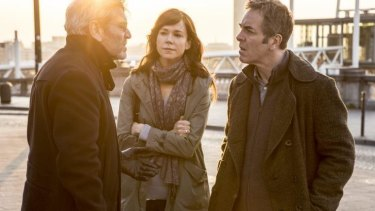 Frances O'Connor, centre, and James Nesbitt, right, in the series <i>The Missing</i>.