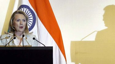 US Secretary of State Hillary Clinton at a press conference during her visit to New Delhi.