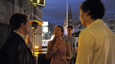 Wingwoman 'Kate' out on the town in Federation Square with clients Max and Adam.