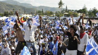 Supporters of East Timor's Partido Demorcatico rallying in Dili.