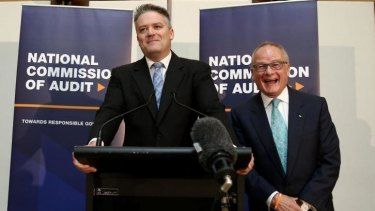 "National Commission of Audit chair Tony Shepherd joins in the laughter as Finance Minister Mathias Cormann says ""I'll be back"" while addressing the media at the release of the National Commission of Audit report."