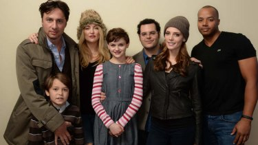 <i>Wish I was Here</i> filmmaker Zach Braff and actors (from left) Pierce Gagnon, Kate Hudson, Joey King, Josh Gad, Ashley Greene, and Donald Faison pose for a portrait during the 2014 Sundance Film Festival.