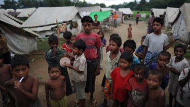 Muslim Rohingyas pictured outside their tents at the Dabang Internally Displaced Persons camp on the outskirts of Sittwe, capital of Myanmar's western Rakhine state.
