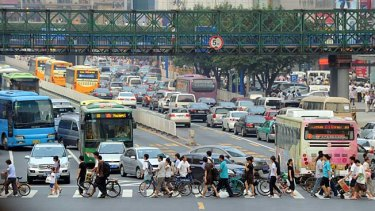 The bustling town centre of Guangzhou, in the province of Guangdong.