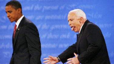 Slip of the tongue: John McCain reacts after almost leaving the  stage the wrong way following his debate with Barack Obama.