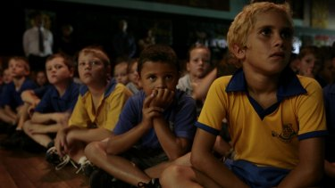 Inverell Students from Ross Hill Public School gather in the assembly hall to watch Kevin Rudd deliver his apology speech