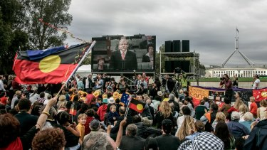 Crowds of people gathered on the lawns in front of Old Parliament House to listen to Rudd's speech.