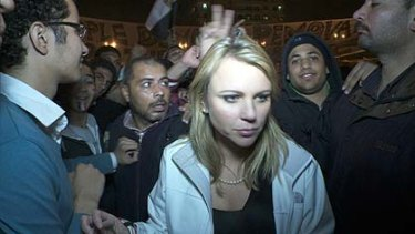 Lara Logan is pictured in Cairo's Tahrir Square moments before she was assaulted in this photograph taken on February 11.