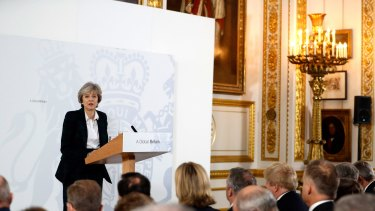 British Prime Minister Theresa May delivers her keynote speech on Brexit.