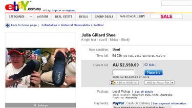 For sale ... 'Julia Gillard's Shoe' is on eBay.