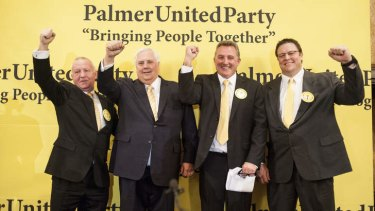 Former boxer Barry Michael, Clive Palmer, former AFL footballer Doug Hawkins and former rugby league footballer Glenn Lazarus at the Palmer United Party announcement in Melbourne.