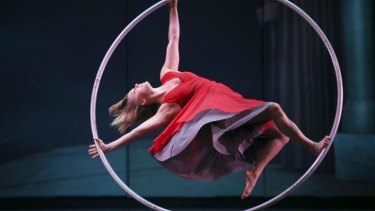 Lea Toran Jenner of the Canadian troupe Cirkopolis performs with a ring during a dress rehearsal.