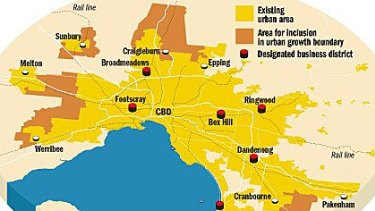 A map of the urban growth boundary expansion.