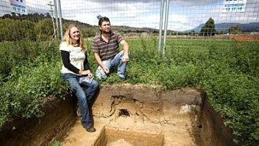 Aboriginal heritage officer Aaron Everett with archaeologist Cornelia de Rochefort at the Jordan River excavations in Tasmania.