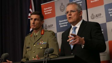Breach of Indonesian Sovereignty: Lieutenant-General Angus Campbell and Immigration Minister Scott Morrison at a press conference in Canberra.