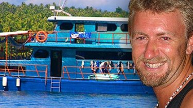 Chris Scurrah, pictured with his boat, Southern Cross. <I>Photo of Chris Scurrah: Sandra Scurrah. Photo of boat: Sumatran Surfariis website</i>