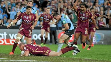 Mathew Scott scores while a streaker invades the pitch. The video referee overturned the decision.