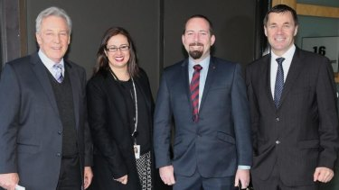 And one remains: Australian Motoring Enthusiast Party senator Ricky Muir (second from right) in July with advisers Peter Breen (left), Sarah Mennie and Glenn Druery. All three advisers have now left the team.