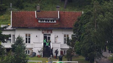 Looking for evidence ... police continue searches on Utoya island following Friday's attack.
