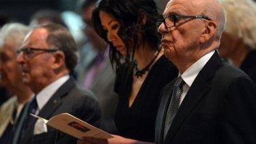 Rupert Murdoch and wife Wendi Deng at Dame Elisabeth Murdoch's funeral service.