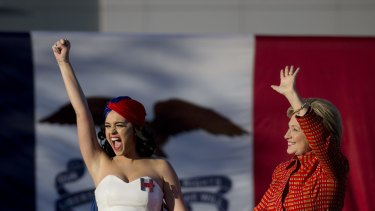 Pop singer Katy Perry and Hillary Clinton at a Democrat fundraiser in Iowa last year.