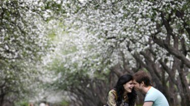 Optimism blossoms... a young couple enjoy the early spring sunshine in Moscow's Kolomenskoe Park this week as temperatures hit 25 degrees in the Russian capital.
