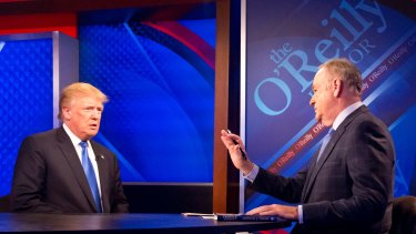 Then-Republican presidential candidate Donald Trump, left, is interviewed by Bill O'Reilly.