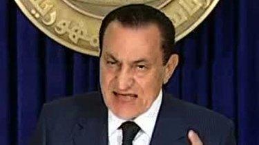 Stepping down ... President Hosni Mubarak addresses the nation on Egyptian State TV.