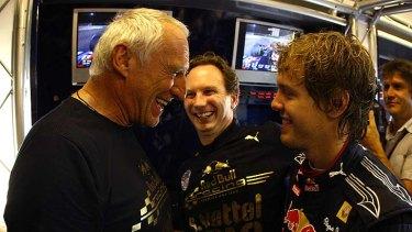 Race winners ...  celebrating  with Sebastian Vettel.