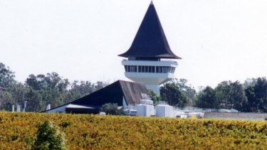 The Mitchelton Wines vineyards at Nagambie with the distinctive ''witch's hat'' tower.