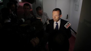 Opposition Leader Tony Abbott speaks to the media at the Press Gallery at Parliament House in Canberra on Monday 24 September 2012.