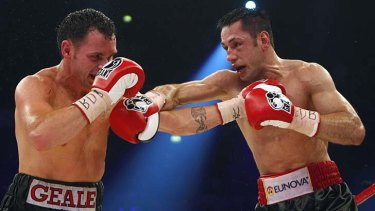 Daniel Geale and Felix Sturm during their WBA and IBF middleweight world championship bout in Oberhausen.