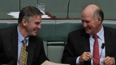 Independent MPs Rob Oakeshott, left, and Tony Windsor have won a list of projects for their regional NSW electorates totalling $820 million.