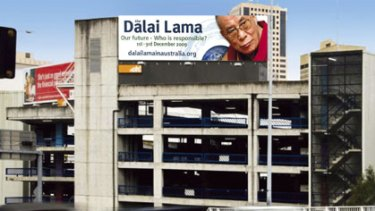 Letting people know he is coming ... a mock-up of a billboard for the Dalai Lama's visit.