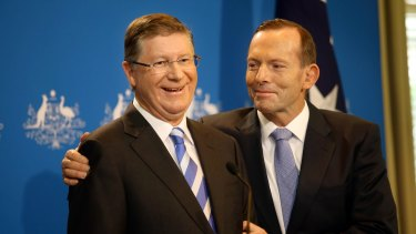 Premier Denis Napthine. left, with Prime Minister Tony Abbott last month. The PM continues to be a drag on the state Coalition's vote before the November 29 poll.