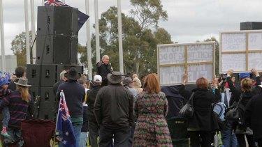Talking back .. Alan Jones addresses the rally.
