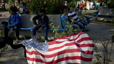 An American flag beach towel air dries outside the immigration office in Penas Blancas, Costa Rica.
