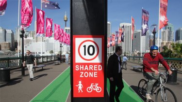 Ending the chaos ... are bike lanes the solution for Pyrmont Bridge? (photo digitally altered)