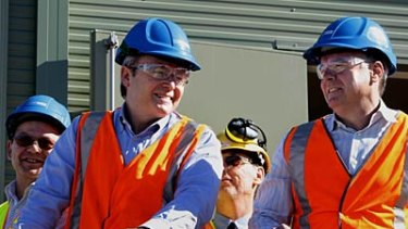 Under fire... Kevin Rudd, with Defence Minister and Federal Member for the Hunter, Joel Fitzgibbon.