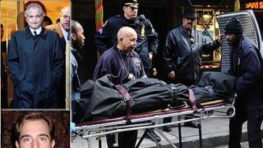 """""""An innocent victim""""... medical examiners remove the body of Mark Madoff from his Manhattan home, inset; Bernard and Mark Madoff."""