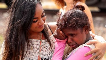 Reconnecting ... Jessica Mauboy with a fan in the outback. The singer has been discovering more about her Aboriginal heritage.