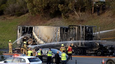 A truck carrying bread has been destroyed by fire this morning. The fire is under control and 2 lanes of the Monash Freeway are now open. PHOTO : PENNY STEPHENS. THE AGE. 10th June 2016