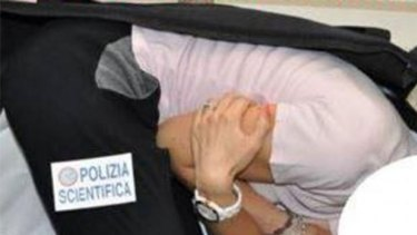 A photo supplied by Italian police showing a simulation of the kidnapping.