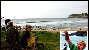 Avalon Beach and, inset,  shark attack victim Andrew Lindop, 15.