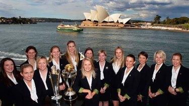 Show us the money: The Australian women's cricket team on Tuesday.