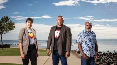 Mark Yettica-Paulson (centre), joint campaign director of Recognise, with his daugter Tavina Yettica-Paulson and his father Reverend Graham Paulson.