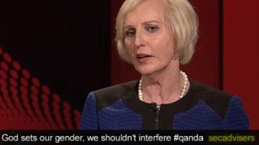 One of the offending tweets during Catherine McGregor's appearance on <i>Q&A</i>.