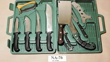 Gruesome evidence … the game-butchering knife kit police found in the garage.