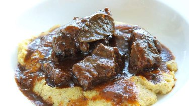 Peposo beef cheeks braised in pepper and red wine.